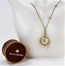 bucherer 14kt yellow gold pendant watch