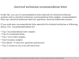 Sample Electrical Technician Cover Letter Electrical Technician Recommendation Letter