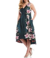 Eliza J Plus Size Floral Print Jacquard Fit And Flare Hi Low Midi Dress