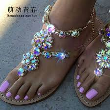 6 Color <b>Woman Sandals Women Shoes</b> Rhinestones Chains Thong ...