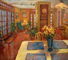 kitchen paintingAn original oil painting of the yellow kitchen interior with
