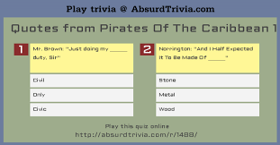Pirates Of The Caribbean Quotes Trivia Quiz Quotes from Pirates Of The Caribbean 100 72