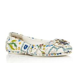 tory burch minnie travel ballet flat shoe printed leather size 8