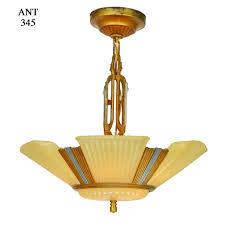 art deco streamline 6 light antique chandelier circa 1935 1937 ant 345 for