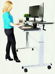 crank adjule sit to stand up desk with heavy duty steel frame silver black top