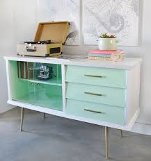 painted mid century furnitureVintage sideboard with Mid Century style was updated with paint