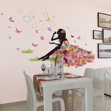 flower fairy on grassland wall decal sticker colorful dress girl wall art mural poster blowing bubble beauty sofa headboard wall applique on wall art decals with flower fairy on grassland wall decal sticker colorful dress girl