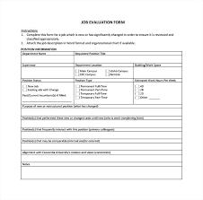 Job Evaluation Form Template Job Evaluation Form To Download Job