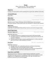 Actuarial Internship Resume. resume ...