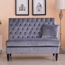 velvet modern tufted settee bench bedroom sofa high back love seat