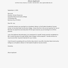 cover letter to human resources cover letter example academic advisor position