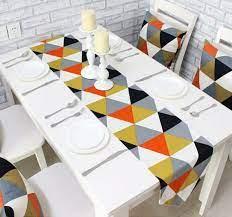 coffee table runner geometric triangle