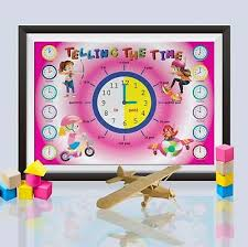 Telling The Time Poster Educational Wall Charts Girls Kids