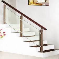 china stainless steel staircase wooden handrail baer and brackets glass staircase manufacturer
