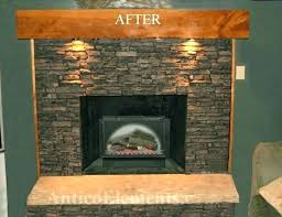 reface brick fireplace stone over brick fireplace before stone panels after stone panels refacing brick fireplace