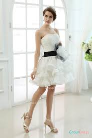pretty strapless asymmetrical pleated short layered organza