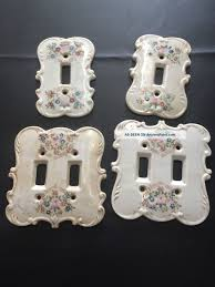 Ceramic Light Covers 4 Vintage Ceramic Light Switch Plate Covers With Flowers