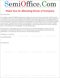 You Letter To Attendees For Attending The Company Dinner