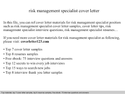 Cover Letter For Management Risk Management Specialist Cover Letter