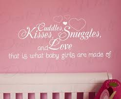 cuddles kisses snuggles and love what baby girl made of girl room kid baby nursery vinyl wall lettering decal quote sticker art decor k30 on etsy 27 97 on baby girl wall art quotes with cuddles kisses snuggles and love what baby girl made of girl room