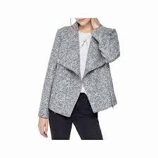 mint velvet textured wool blend biker jacket light grey long sleeve biker aviator jacket
