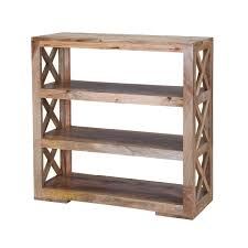 "ranch mango wood "" open back rustic bookcase"