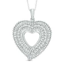 t w baguette diamond heart pendant in 10k white gold