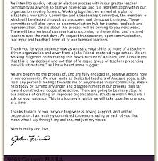 Letter: Group Of Senior Teachers Meet With John Friend, Anusara Yoga ...