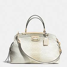 COACH f30235 MADISON PINNACLE ANDIE SHOULDER BAG IN PYTHON EMBOSSED DEGRADE  LEATHER LIGHT GOLD WHITE
