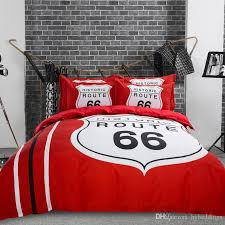 whole historic route 66 bedding set red black duvet covers home textile full queen king size beddings elegant bedding black and white bedding sets