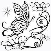黒 蝶 で 花 イラスト