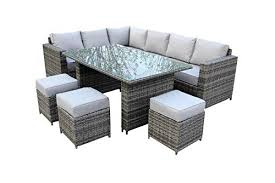 grey rattan garden dining sets. yakoe conservatory classical range 9 seater rattan garden furniture corner dining set - grey sets n