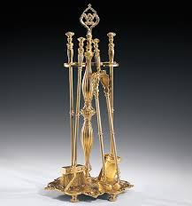 cast brass antiqued fireplace tools set
