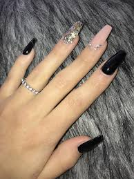 Black And Nude Nails Acrylicnails Nail Design V Roce 2019