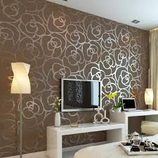 Get Your Wallpaper Through The Magazines for Home Interior Design : Modern  Brown Flower Wallpaper Behind Tv Setup On The Wall As Well Unique Lamp S  ...