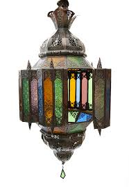 traditional hanging moroccan glass lantern