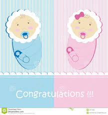 Twins Baby Boy And Girl Stock Vector Illustration Of Announcement