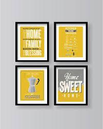 mustard yellow gray white poster set