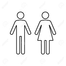 白い背景の上の男と女のトイレ アイコンベクトルの図
