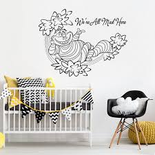 Cheshire Cat Wall Decal Quote Alice In Wonderland Wall Sticker Removable  Kids Bedroom Wallpaper Cartoon Wall Mural Poster W180 | The Divine Diva Shop
