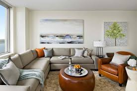 Living Room Design With Brown Leather Sofa Round Red Pendant Lamp Cozy Living Room Ideas Orange Fabric Comfy