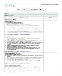 Annual Self Evaluation Sample Employee Assessment Form Excel Best ...