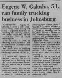 Obituary for Eugene W. Galusha, 1939-1991 (Aged 51) - Newspapers.com
