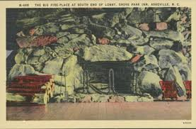 a vintage postcard depicts one of the grove park inn s massive stone fireplaces