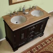 48 inch compact double sink travertine stone top bathroom vanity cabinet 0224tr