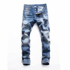 Designer Pants 2019 2019 New Mens Ripped Straight Hole Jeans Casual Trousers Slim Fit Denim Pants Fashion Designer Pants Hip Hop Mens Jeans Plus From Qq1084577491