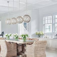 Dining room lighting ideas ceiling rope Fixtures Trestle Dining Table With Jute Rope Globe Light Pendants Decorpad Jute Rope Globe Light Pendants Design Ideas