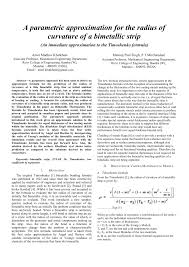 PDF) A Parametric Approximation for the Radius of Curvature of a Bimetallic  Strip