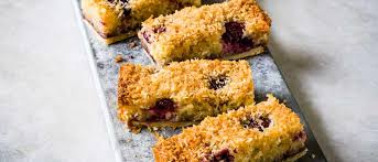 <b>Black cherry</b> and coconut bakewell slices