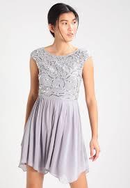 Light Grey Occasion Dress Lace Beads Embellished Top Skater Dress Lace Beads Jojo
